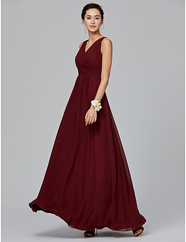 4d4adf838e34 A-Line V Neck Floor Length Chiffon Bridesmaid Dress with Side Draping /  Criss Cross by LAN TING BRIDE®