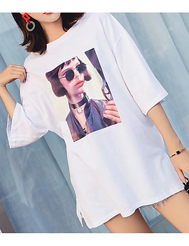 T-shirt Damskie Bawełna Solidne kolory / Portret