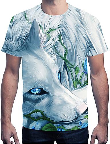T-shirt Męskie Moda miejska / Przesadny, Nadruk Okrągły dekolt Kolorowy blok / Zwierzę Wilk / Krótki rękaw