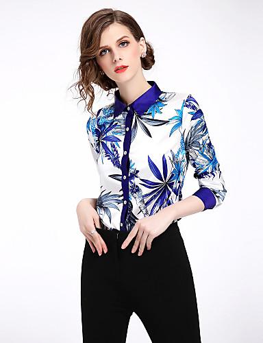 billige Topper til damer-Skjortekrage Skjorte Dame - Blomstret, Trykt mønster Gatemote Arbeid