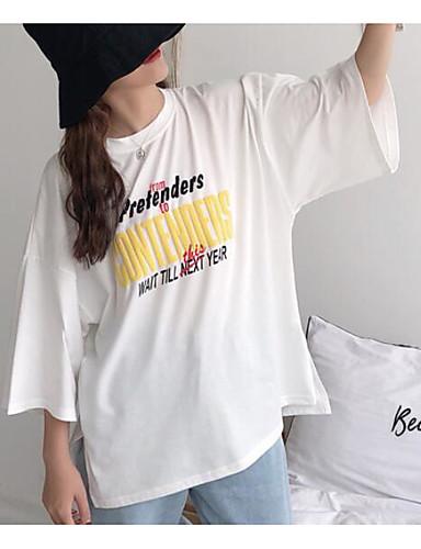 Pentru femei Tricou Vintage - Mată Denim Alb negru