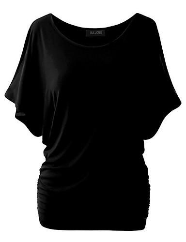 billige Dametopper-Bomull Tynn T-skjorte Dame - Ensfarget Grunnleggende / Gatemote Vin / Sommer