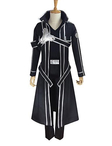 povoljno Anime kostimi-Inspirirana SAO Swords Art Online Kirito Anime Cosplay nošnje Japanski Cosplay Suits Jednobojni Dugih rukava Kaput / Hlače / Rukavice Za Muškarci / Žene
