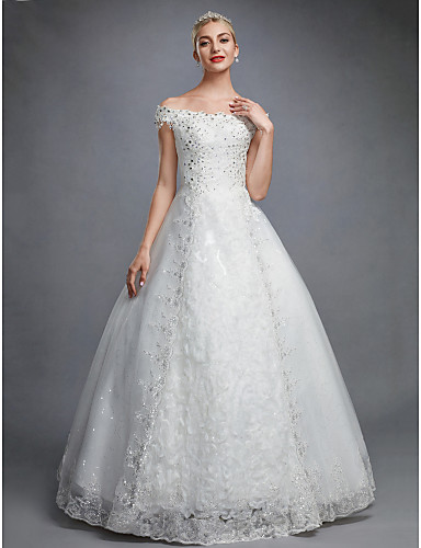 cheap Ball Gown Wedding Dresses-Ball Gown Off Shoulder Floor Length Lace Over Tulle Made-To-Measure Wedding Dresses with Beading / Sequin / Appliques by LAN TING BRIDE® / Sparkle & Shine
