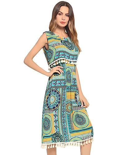 Damskie Rozmiar plus Zabytkowe Bawełna Bufka Bodycon Sukienka - Jendolity kolor / Geometryczny, Plisy Do kolan Czarno-biały