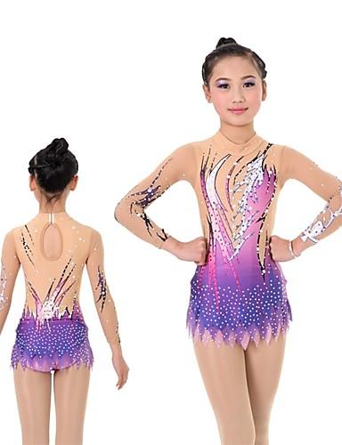 501ffb3756a6 Rhythmic Gymnastics Leotards Artistic Gymnastics Leotards Women's Girls'  Leotard Purple High Elasticity Handmade Print Shading Long Sleeve  Competition ...
