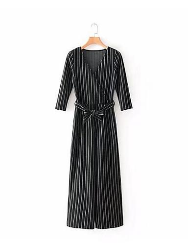 Pentru femei Mărime Plus Size Zilnic Vintage Negru Harem Salopete, Carouri Macara Crăpătură Mâneci Bufante S M L Bumbac Manșon scurt Primăvară