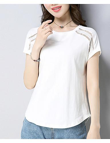 T-shirt Damskie Vintage, Frędzel Jendolity kolor Niebiesko-biały