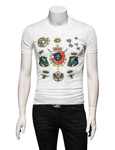 Bărbați Rotund - Mărime Plus Size Tricou Bloc Culoare / Va rugăm selectați cu o mărime mai mare decât purtați. / Manșon scurt / Zvelt