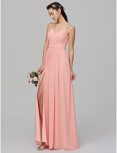 A-Line Spaghetti Strap Floor Length Chiffon Bridesmaid Dress with Split  Front   Criss Cross by LAN TING BRIDE® 51f746b70e44