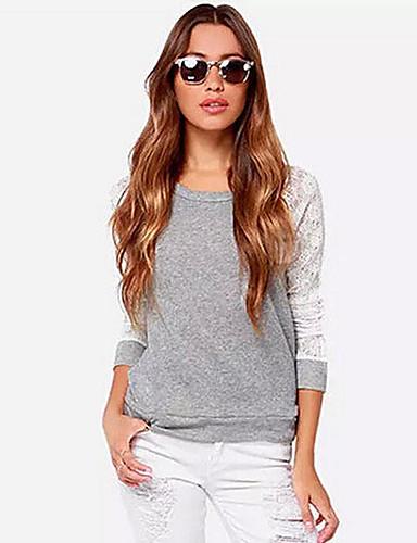 abordables Hauts pour Femme-Tee-shirt Femme, Couleur Pleine - Coton Garniture en dentelle Sortie Col en U Gris / Sexy