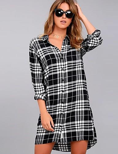 Koszula Damskie Moda miejska Wielokolorowa / Kratka Czarno-biały