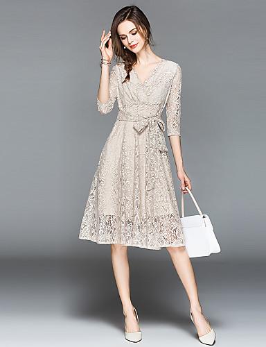 25a59bc659740 Kadın's Tatil / Dışarı Çıkma Sokak Şıklığı / sofistike A Şekilli Elbise -  Paisley, Dantel / Fiyonklar V Yaka Diz-boyu Yüksek Bel
