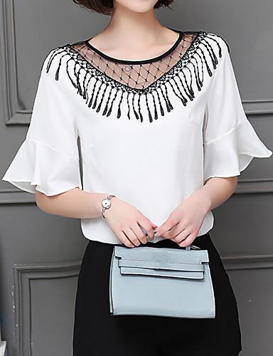 billige Dametopper-Løstsittende Store størrelser T-skjorte Dame - Ensfarget, Dusk Hvit / Sommer / flare Sleeve