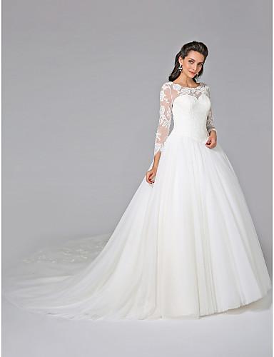 Báli ruha Illúziós nyakpánt Katedrális uszály Tüll   Virágos csipke  Made-to-measure esküvői 53fff6a657