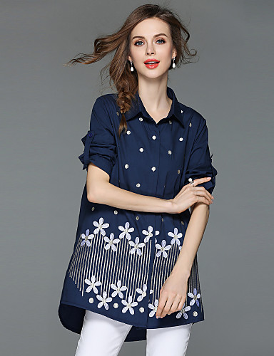 billige Topper til damer-Bomull Løstsittende Skjortekrage Skjorte Dame - Blomstret, Broderi Gatemote