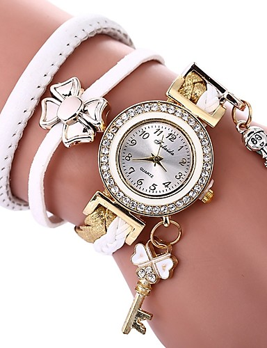 417c34808 Women's Bracelet Watch Wrap Bracelet Watch Quartz Quilted PU Leather Black  / White Casual Watch Imitation