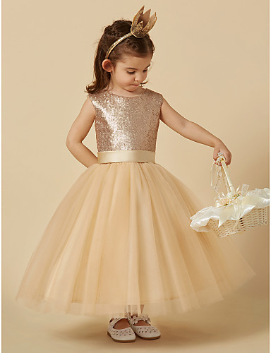 A-Line Knee Length Flower Girl Dress - Satin Tulle Sequined Sleeveless Jewel Neck with Appliques Bow(s) Sash / Ribbon by LAN TING BRIDE®