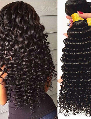 povoljno Ljepota i kosa-4 paketića Brazilska kosa Wavy 8A Ljudska kosa Jedan Pack Solution Prirodna boja Isprepliće ljudske kose novorođenče proširenje Sexy Lady Proširenja ljudske kose Žene