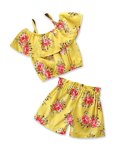 Dzieci / Brzdąc Dla dziewczynek Nadruk Krótki rękaw Komplet odzieży