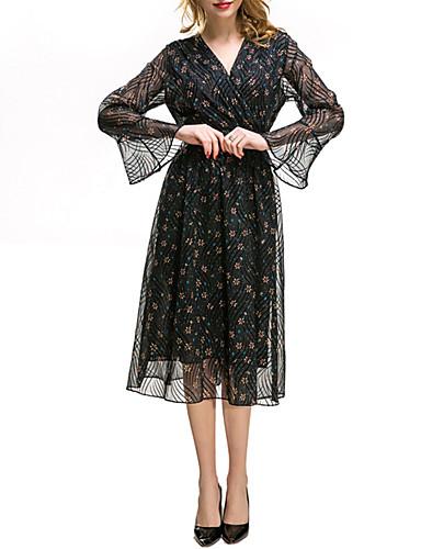 ef4cd258c7a81 Kadın's Günlük / Dışarı Çıkma Sokak Şıklığı / sofistike Flare Kol Şifon  Elbise - Çiçekli,