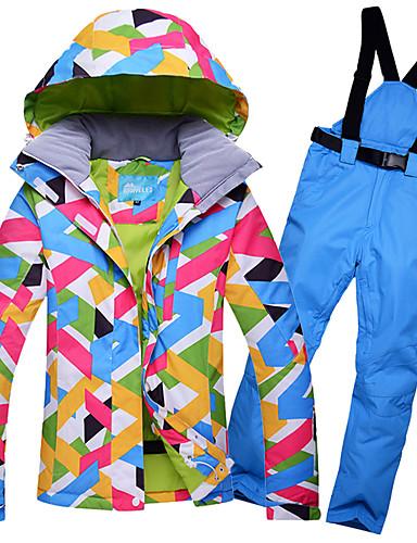 povoljno Skijaška i snowboard odjeća-GQY® Žene Skijaška jakna i hlače Vodootporno Ugrijati Vjetronepropusnost Skijanje Zimski sportovi Poliester Kompleti odjeće Skijaška odjeća / Zima