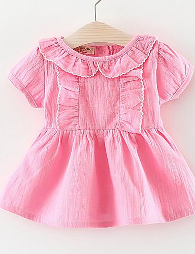Brzdąc Dla dziewczynek Jendolity kolor / Patchwork Krótki rękaw Sukienka