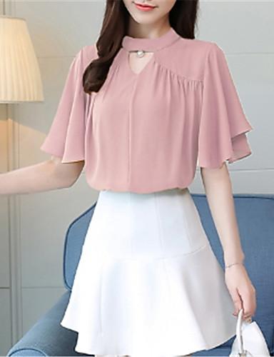 abordables Camisas y Camisetas para Mujer-Mujer Blusa, Cuello Barco Un Color Blanco L / manga de la llamarada