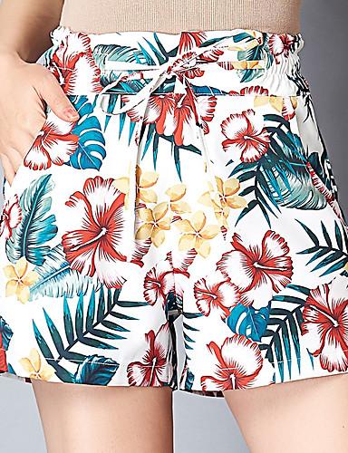 cheap Shorts-Women's Active Plus Size Loose Shorts Pants - Floral Print High Waist Blue