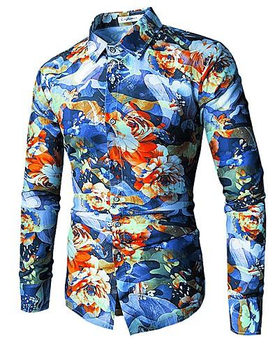 3aeced2c28 Hombre Boho Tallas Grandes Estampado Camisa Floral   Manga Larga   Otoño    Invierno