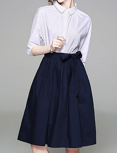 Pentru femei Șic Stradă / Sofisticat Mărime Plus Size Pantaloni - Mată Funde Alb / Guler Cămașă / Muncă