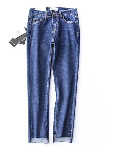 Pentru femei De Bază Bumbac Blugi Pantaloni Mată / Concediu