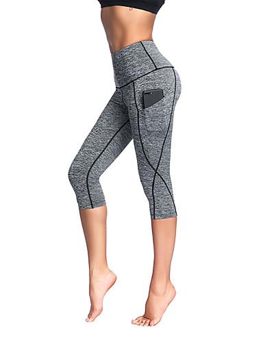 4c8afc4434b Women s Pocket Yoga Pants Grey Rough Black Light gray Sports Stripes Spandex  3 4 Tights Tights Leggings Zumba Running Fitness Plus Size Activewear  Anatomic ...