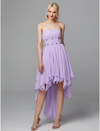A-linje Stroppeløs Asymmetrisk Chiffon Cocktailfest Kjole med Perlearbeid / Drapering av TS Couture®