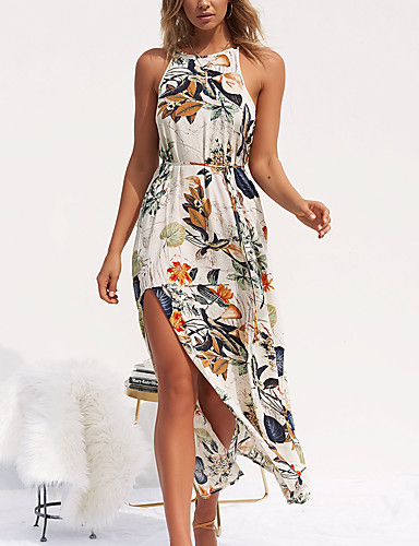 Femme Fleur Vacances Maxi Robe - Imprimé, Fleur Licou Eté Beige M L XL Coton Sans Manches