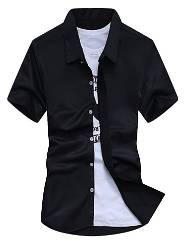 cămașă subțire pentru bărbați - guler de cămașă solid colorat