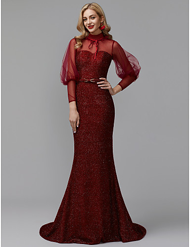 b050e55dcb18 Mermaid   Trumpet High Neck Sweep   Brush Train Tulle   Velvet Sparkle    Shine Formal Evening Dress with Buttons   Sash   Ribbon by TS Couture®    Illusion ...