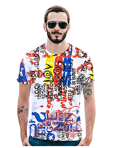 Bărbați Tricou Activ / Șic Stradă - Geometric / Scrisă Imprimeu