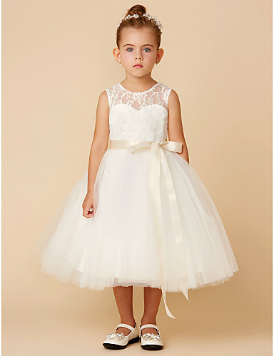 17f16aa680a Princess Tea Length Flower Girl Dress - Lace   Tulle Sleeveless Jewel Neck  with Bow(s)   Sash   Ribbon by LAN TING BRIDE®