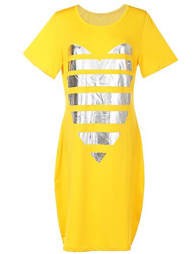 Pentru femei Mărime Plus Size De Bază / Șic Stradă Larg Shift / Tricou Rochie - Imprimeu, Geometric Lungime Genunchi / Vară