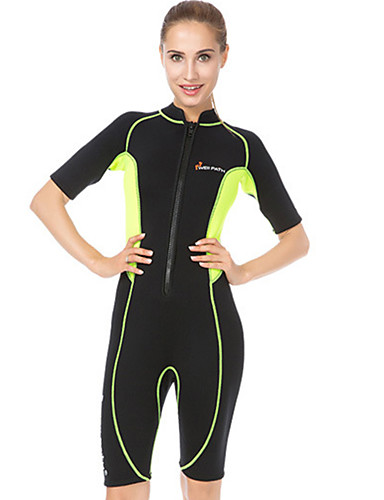 Women s Shorty Wetsuit 3mm Neoprene Diving Suit Ultraviolet Resistant Short  Sleeve Front Zip - Swimming Diving Surfing Patchwork Summer Fall 38aa3e8ff
