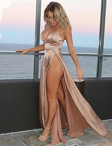 voordelige Maxi-jurken-Dames Feest Strand Sexy Katoen Skinny Wijd uitlopend Jurk - Effen, Blote rug Diepe V-hals Maxi