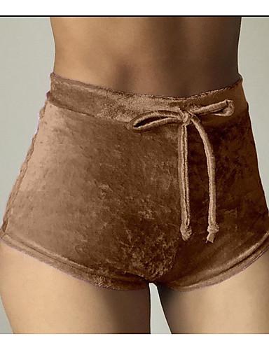 abordables Pantalons Femme-Femme Fin de semaine Mince Short Pantalon - Couleur Pleine Noir Rose Claire Vin M L XL
