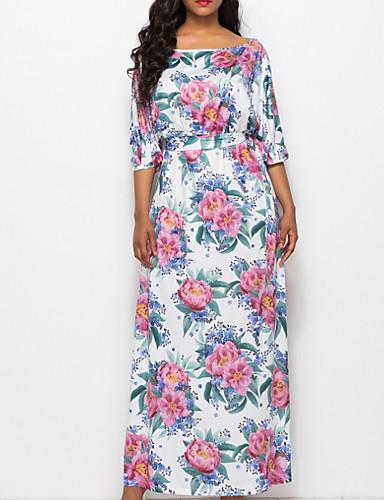 Pentru femei Mărime Plus Size Ieșire De Bază Zvelt Shift / Teacă Rochie - Imprimeu, Floral Maxi / Vară