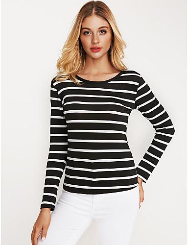 billige Topper til damer-T-skjorte Dame - Stripet Aktiv Hvit / Høst / Vinter / fin Stripe