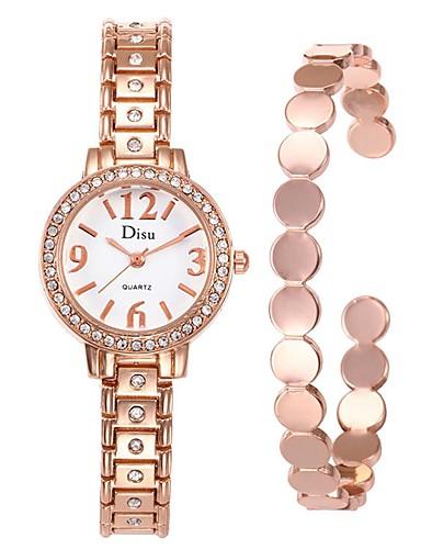 Mulheres Relógio Elegante Bracele Relógio Quartzo 30 m Criativo Aço Inoxidável Banda Analógico Fashion Elegante Prata - Dourado Preto Prata