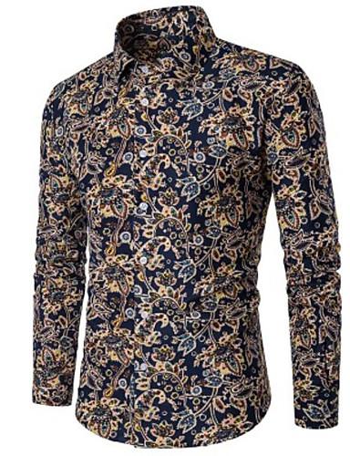 voordelige Uitverkoop-Heren Zakelijk Grote maten - Overhemd Katoen Polka dot blauw / Lange mouw