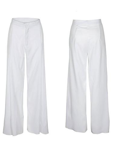 abordables Pantalons Femme-Femme Chic de Rue Sortie Travail Ample Ample Pantalon - Couleur Pleine Ruché Taille haute Blanche Jaune M L XL / Sexy