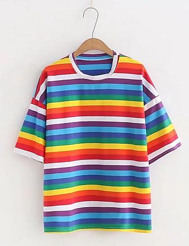 Pentru femei Tricou Vintage - Mată / Dungi Franjuri Negru & Roșu