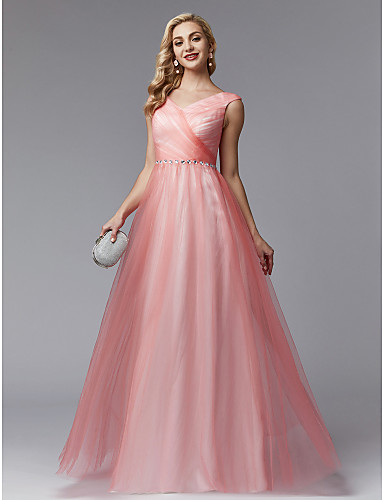 788f0151e0b5 Γραμμή Α Λαιμόκοψη V Μακρύ Τούλι Μπλοκ χρωμάτων Χοροεσπερίδα   Επίσημο Βραδινό  Φόρεμα με Χάντρες   Πλαϊνό ντραπέ   Χιαστί με TS Couture®